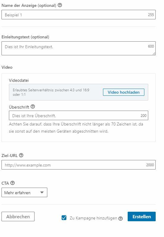 LinkedIn Videoad Anzeigenerstellung