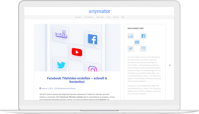 laptop mockup showing the anymator blog